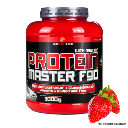 BWG/ MUSCLE LINE / Protein Master F90+ Arginin  / 3000g Dose  Geschmack: Strawberry Deluxe