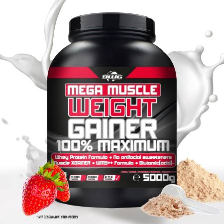 BWG Mega Muscle Weight Gainer - Erdbeere (5000g)